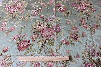Exquisite Antique 19thC Silk French Rose Tapestry Jacquard Panel Fabric Textile