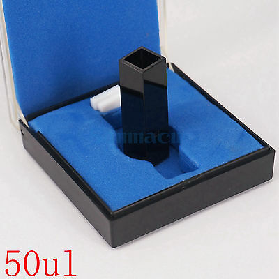 50ul Sub-Micro Fluorescence JGS1 Quartz Cuvette Cell With Black Walls And Lid