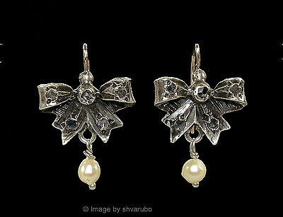 Antique Victorian Style Cute Bow Earrings Sterling, 14K, Natural Zircons, Pearls