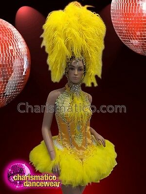 8f80f1a111f2 CHARISMATICO Bright yellow silver sequin feathered ruffled costume  headdress set
