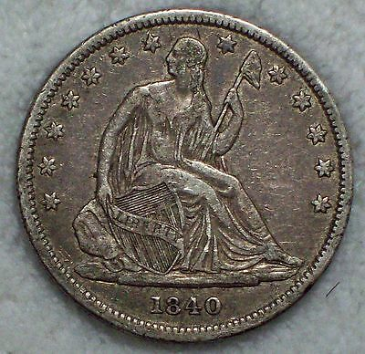 1840 SILVER Seated Liberty Half Dollar Authentic XF Detailing - Dark Toning 50C