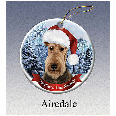 Airedale Terrier Howliday Porcelain China Dog Christmas Ornament