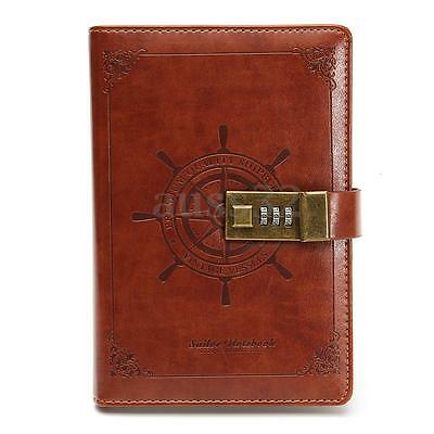 Hot B6 Retro Note Book Brown Leather Journal Wired Diary with Password Code Lock
