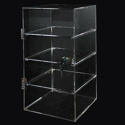 Acrylic 4 Shelf Case 250x250x450mm Clear Plastic Countertop Cabinet