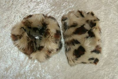 Leopard Print Fuzzy Cuffs wear over girls Coat Sleeves to dress up Faux Fur