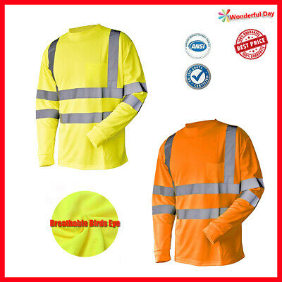 Hi Vis T Shirt ANSI Class 3 Reflective Safety Lime Orange Long Sleeve Birds Eye