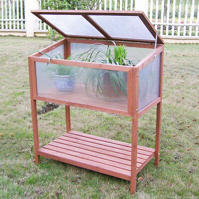 Garden Planter Protection Portable Wooden Cold Frame Greenhouse Raised Flower