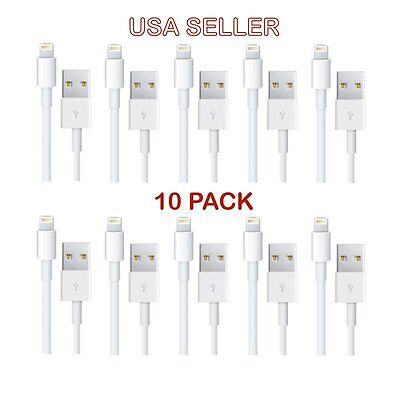 10x WHOLESALE LOT USB Cable For Apple iPhone 5 6s Plus 6 and 7 Data Sync charger