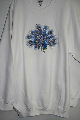 Peacock Embroidered On A 3XLarge White Crewneck Sweatshirt