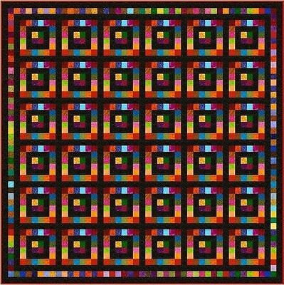 "SQUARESVILLE - Black - 95"" - Pre-cut Quilt Kit by Quilt-Addicts King size"