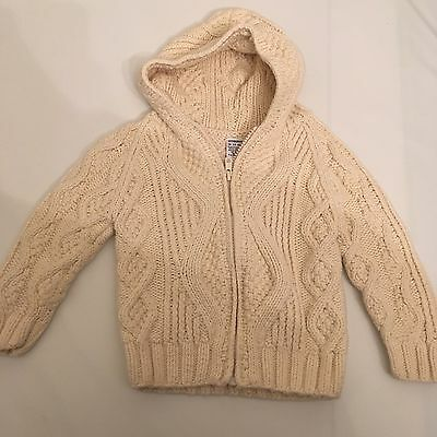 Gymboree boys 18-24 months Cream cable zip down hooded sweater
