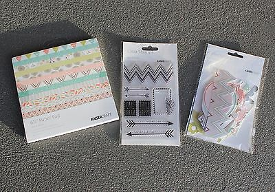"""Kaisercraft Bow  Arrow 6&1/2"""" Paper Pad, Collectables & Acrylic Stamp Set - New"""