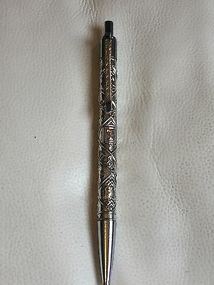"""A Vintage Sterling Silver """"SILVEROLEX"""" Ball Pen Fully Hand Engraved"""