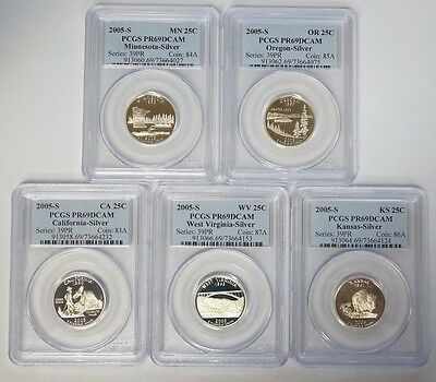 2005 S 25C Silver Proof State Quarter 5 Coin Set PCGS PR69DCAM