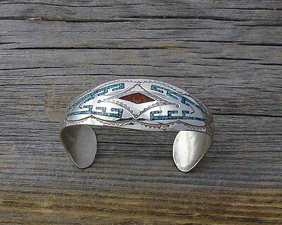 Navajo Turquoise Coral Chip Inlay Cuff Bracelet