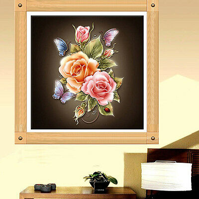 DIY 5D Diamond Flower Butterfly Embroidery Painting Cross Stitch Kit Home Decor