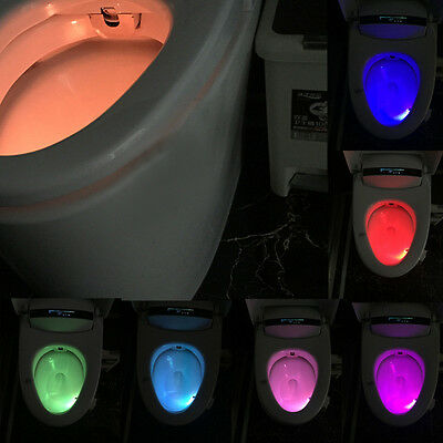 8 Colors LED Motion Sensor Automatic Toilet Night Light Bowl Bathroom Decor Lamp