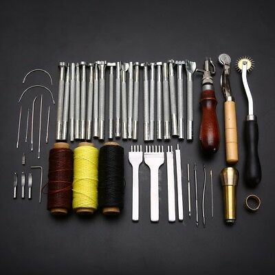 48 Leather Craft Punch Tools Kit Stitching Carving Working Sewing Saddle Groover