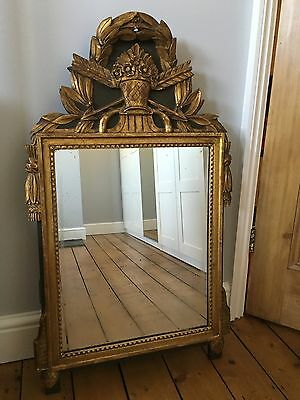 Antique French Carved Gilt Wooden Wall Mirror