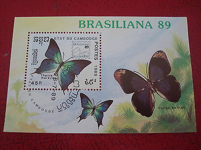 Cambodia - 1989 Butterflies - Minisheet - Unmounted Used - Ex. Condition