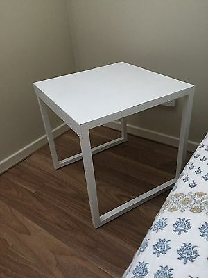 2 White Gloss Metal Side Tables Bedside Tables