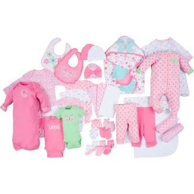 Newborn,infant,baby girl Layette Age 0-3M set clothes cotton 33-Piece gift new