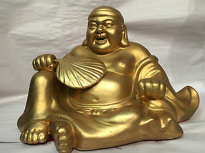 """Antique Gold Chinese 6.5"""" Laughing Buddha Sitting Statue With Hand Fan"""