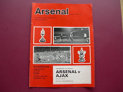ARSENAL v AJAX EURO CUP 3rd ROUND PROGRAMME 1971/72