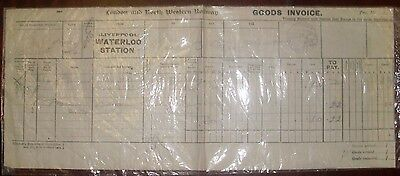 L & N W Railway Rare Goods Invoice 1917 Liverpool Waterloo Rubber Stamped