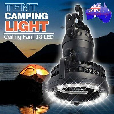 Practical Outdoor Camping Hiking Light Lantern 18LED Tent Light With Fan B#