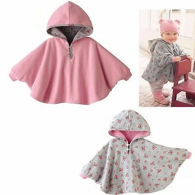 Baby Girl Pink Two-sided Cloak Poncho Cape Hoodie Coats Outwear Jacket Jumpers