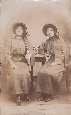 Vintage Real Photo  Postcard, Two Young Ladies In Bonnets, Unused,