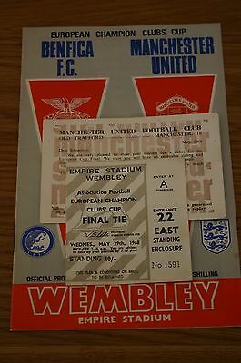 Benfica F.C. v Man Utd 1968 European Cup Final Programme + Ticket Stub