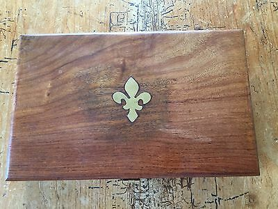 Small Wooden Box with Inlaid Fleur de Lys