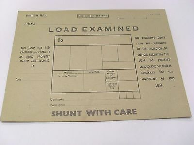 B R Wagon Labels 'Load Examined' & 'Fragile. Do Not Drop - Unused Condition