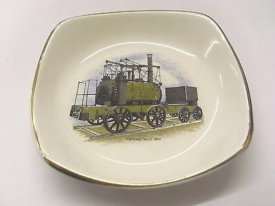"""Puffing Billy (Built 1813) 5.1/2"""" Square Gilt-Edged Pin Tray In Very Good Cond'n"""