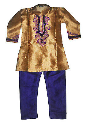 Boys' Designer Kurta Set Indian Party Suit Clothing Gold and Purple