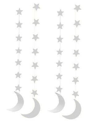 Silver Crescent Moon Hanging Eid Islamic Muslim Holiday Decoration (4 pack)