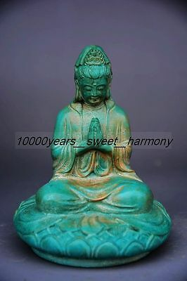 Superior quality Chinese stone hand carved lotus guanyin lucky statue