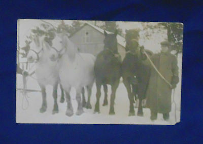 Early Postcard Winter Scene ~ Two Teams Of Draft Horses
