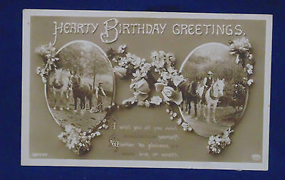 Vintage Postcard - Postmarked 1914 Printed In Germany - Horses Birthday Greeting
