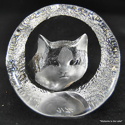 MATS JONASSON - Lead Crystal, Kitten Paperweight, Signed and numbered
