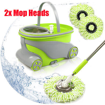 Magic Mop 360° Spinning Stainless Steel Spin Dry Bucket 2 Microfibre Heads Hot