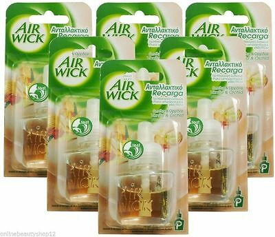 6 X Airwick Air Wick Plug In Oil Refills -  Vanilla & Orchid