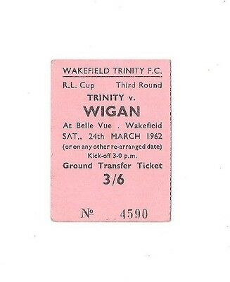 1962 - Wakefield Trinity (Winners) v Wigan, Challenge Cup 3rd Rd Match Ticket.