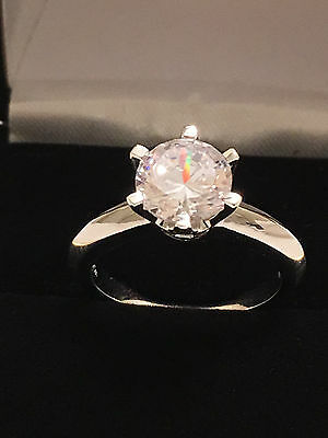 2Ct Round Solitaire Engagement Wedding Ladies Ring 14K White Gold Toned