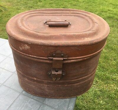 Antique Metal Hat Box. Tin. Beautiful Condition. Case.