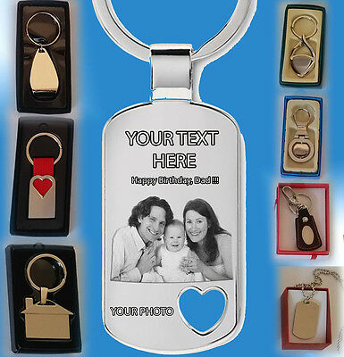 Personalised Metal Photo Engraved Heart Keyring Keychain Keyholder Gift Heart.