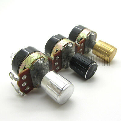 10PCS 5K - 500K Guitar Linear Taper Rotary Potentiometer With Switch + Knob Cap