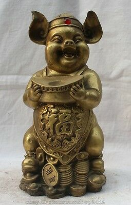 "8"" Chinese Buddhism Myth Brass Stand Wealth Pig Warrior Zhu Ba Jie Buddha Statue"